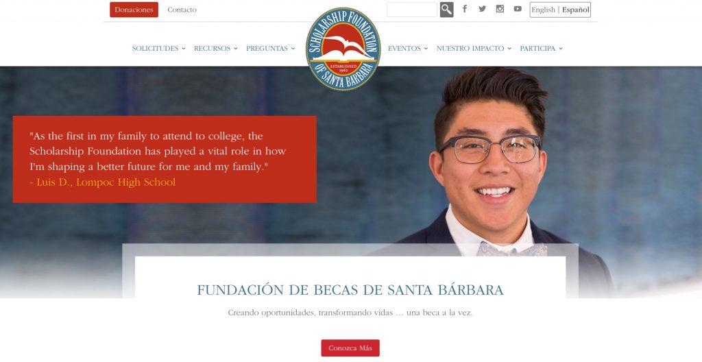 Website Screen Shot Spanish